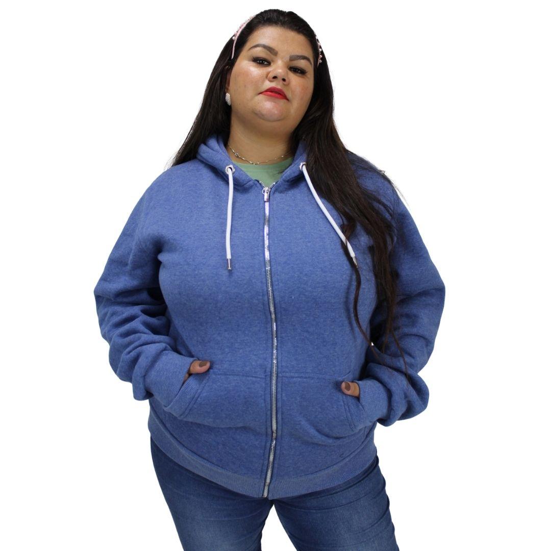 Moletom Plus Size Com Zíper e Capuz Azul