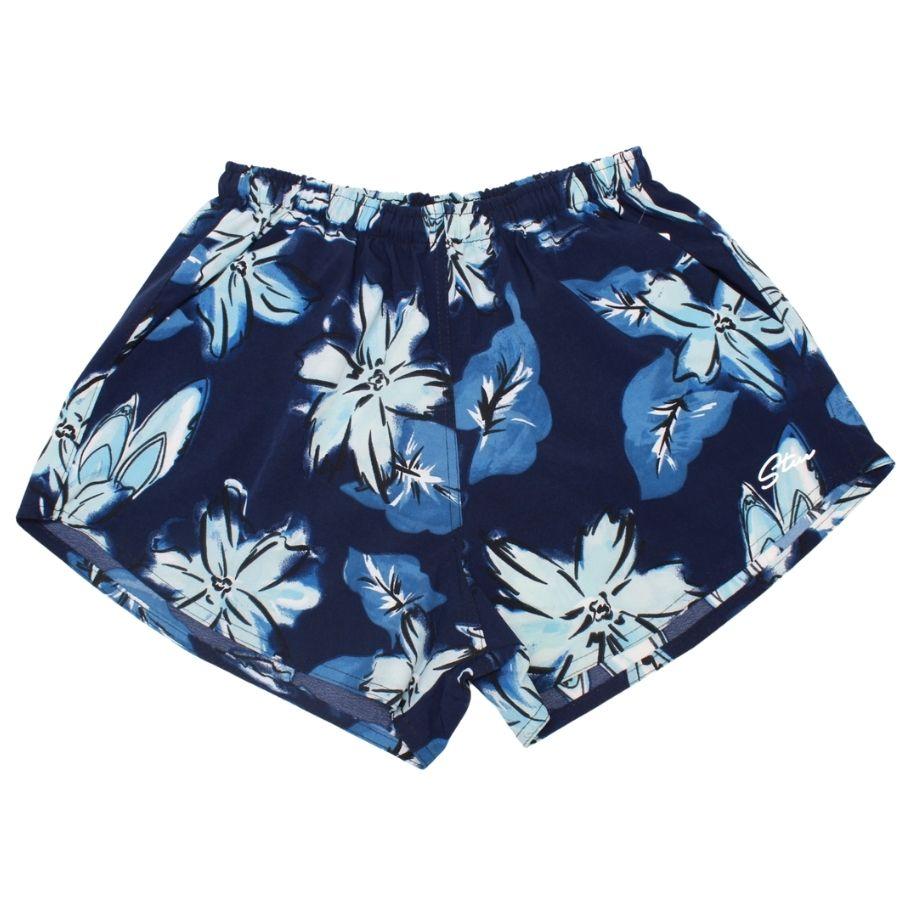 Short Estampado Azul Com Cós Elástico