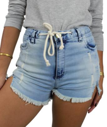 Shorts Jeans com Cordão