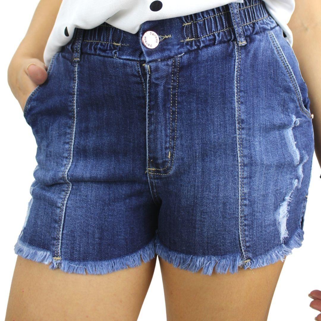Shorts Jeans Rasgado Cós Elástico