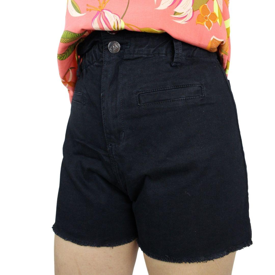 Shorts Sarja Preto Cós elástico
