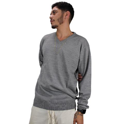 Suéter de tricot Gola V Cinza