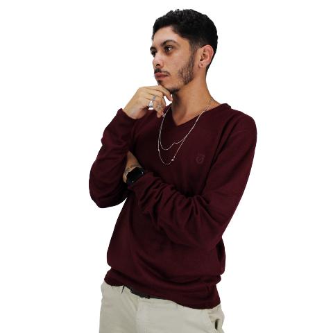 Suéter de Tricot Gola V Vinho