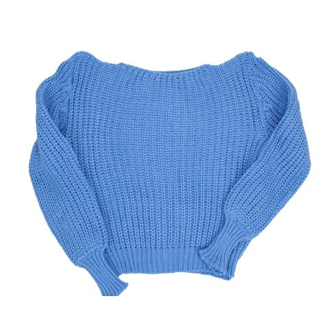 Tricot Manga Bufante Azul Bebê