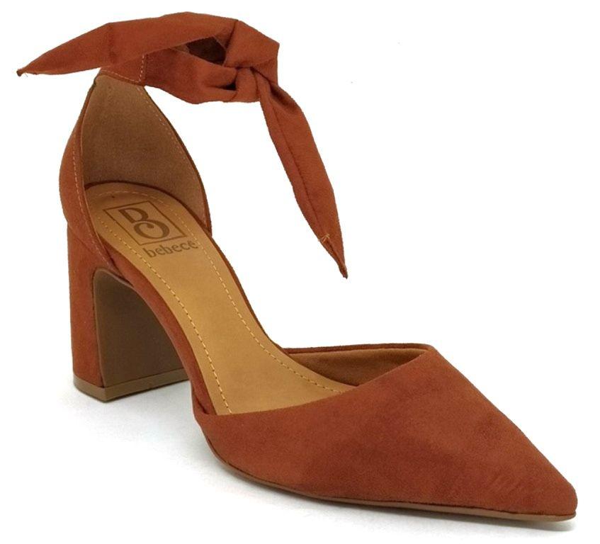 Sapato Scarpin Feminino Bico Fino c/ Amarração Bebecê 7018-131 Marrom