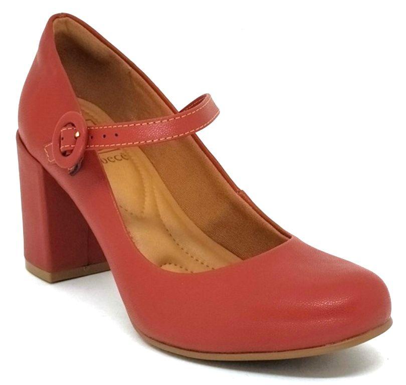 Sapato Feminino Bico Redondo Salto Grosso Bebecê 6514-226 Marrom