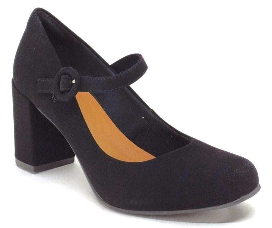 Sapato Feminino Bico Redondo Salto Grosso Bebecê 6514-226 Preto