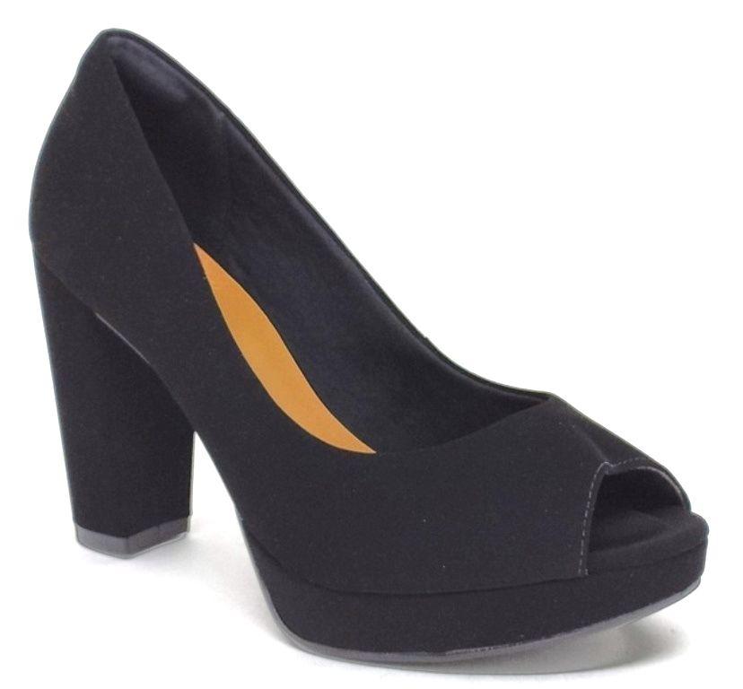 Sapato Feminino Peep Toe Bebecê 8420-065 Preto