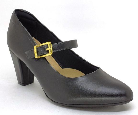 Sapato Scarpin Feminino Modare 7305.434 Preto Salto Alto Grosso