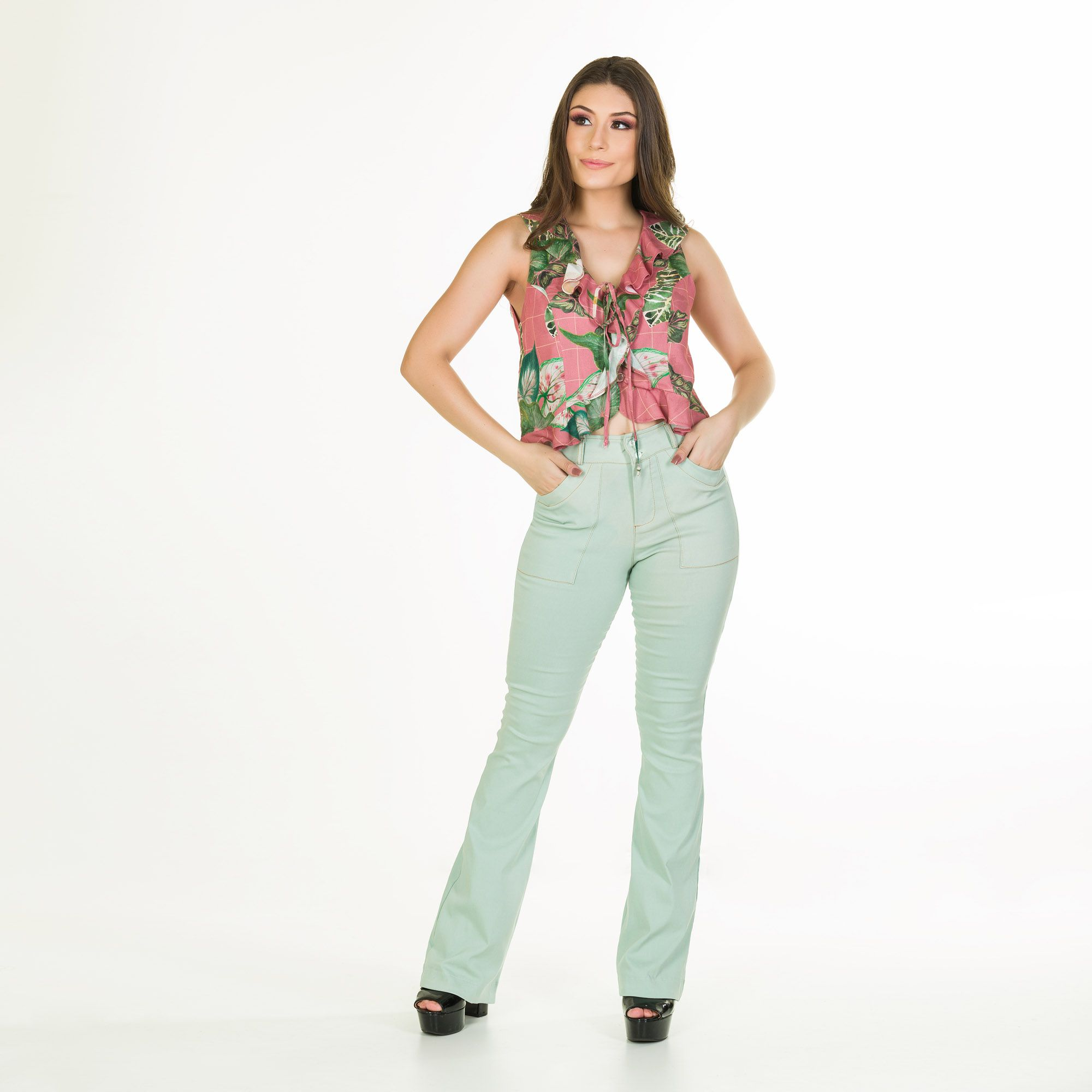 cropped babado floral