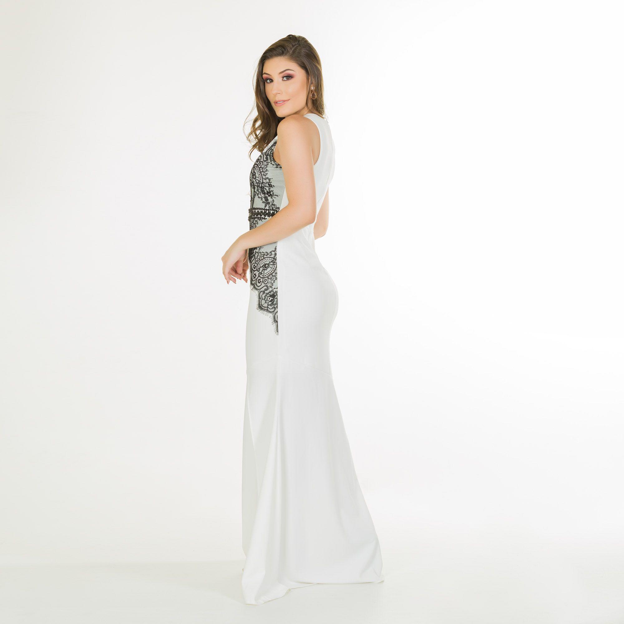 vestido longo bicolor