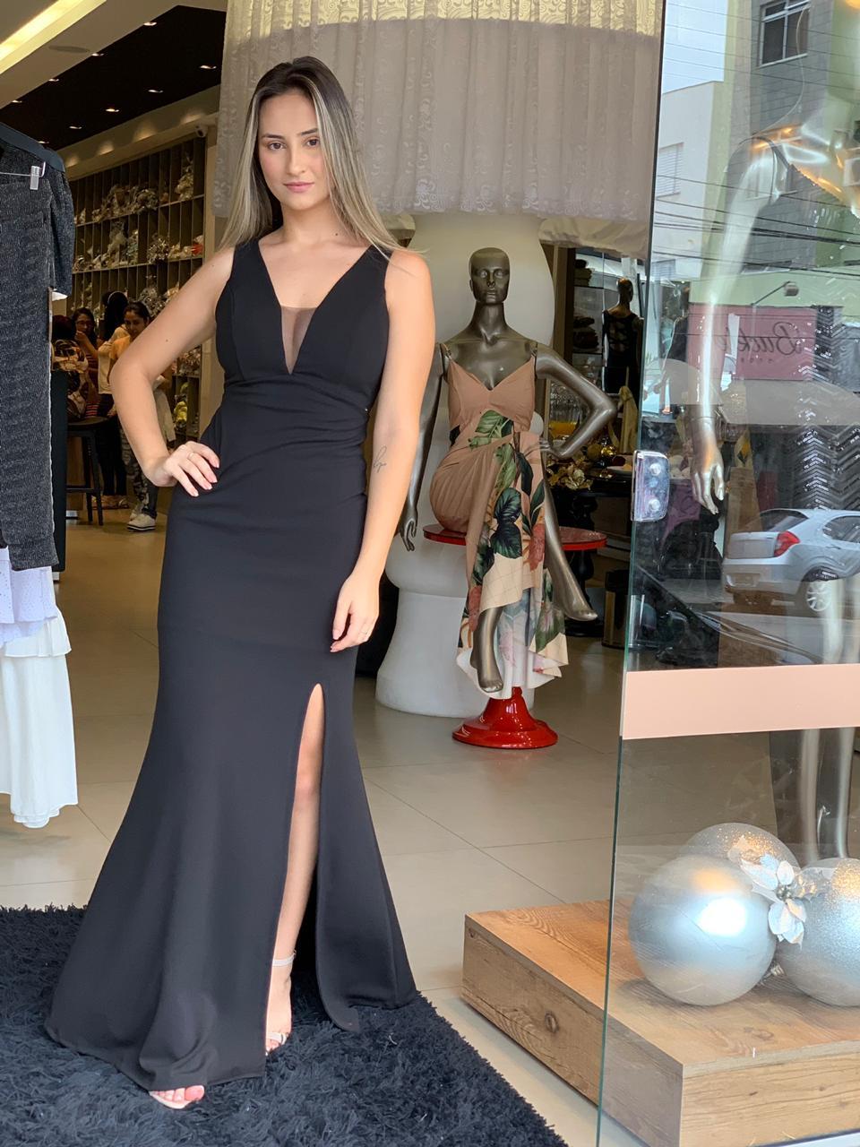 vestido longo decote