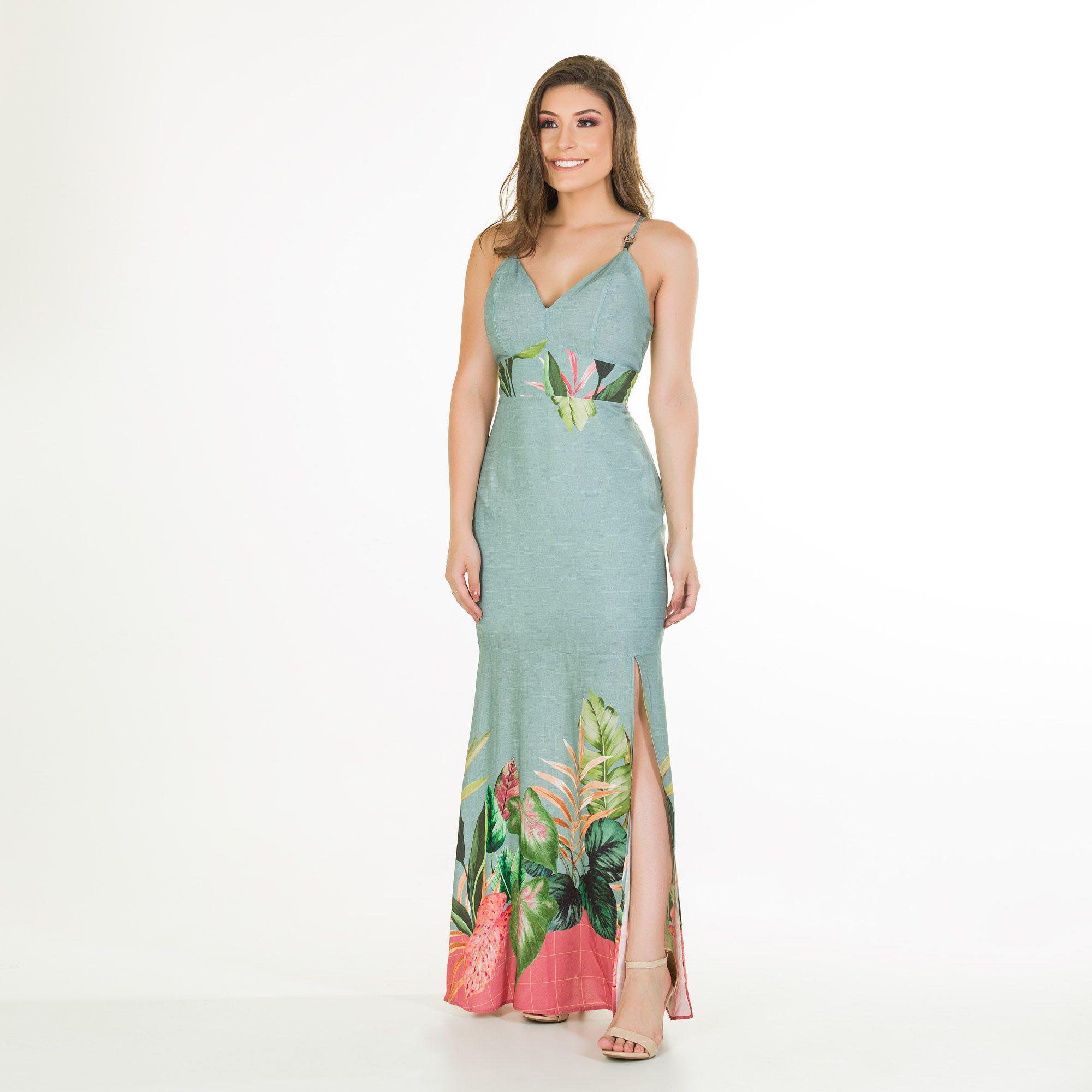 vestido longo fivela