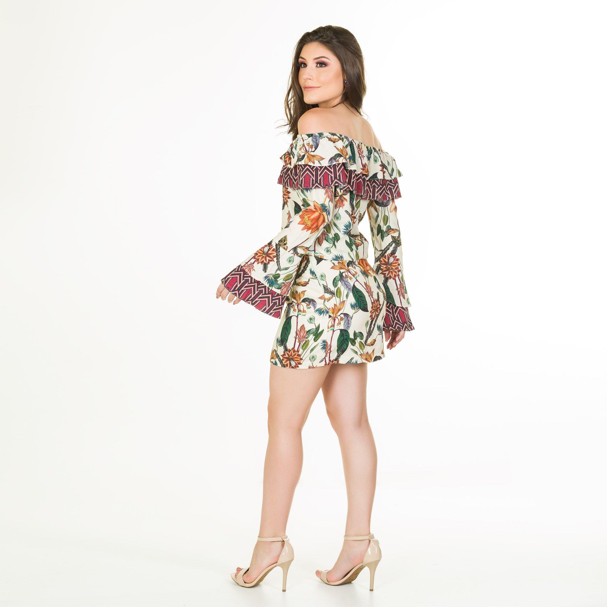 vestido mix estampa