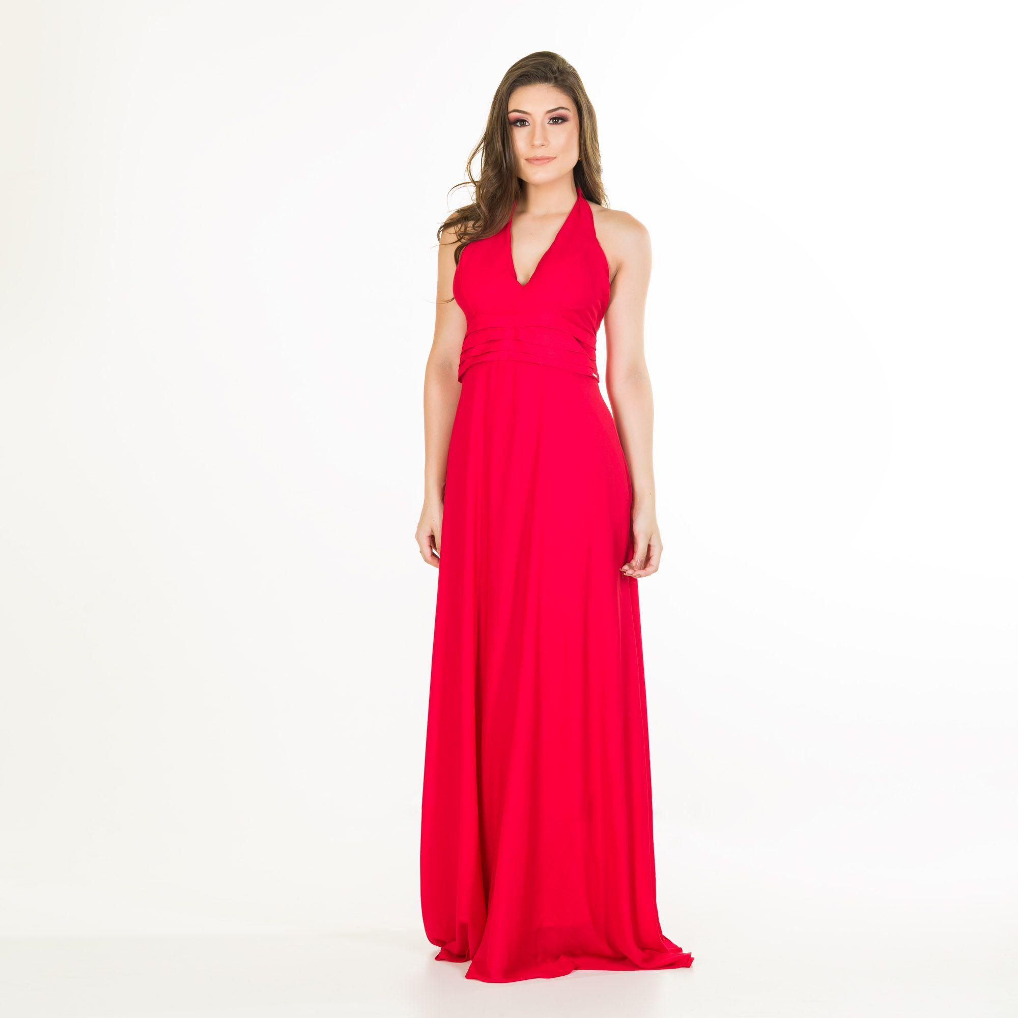 vestido pala pregas