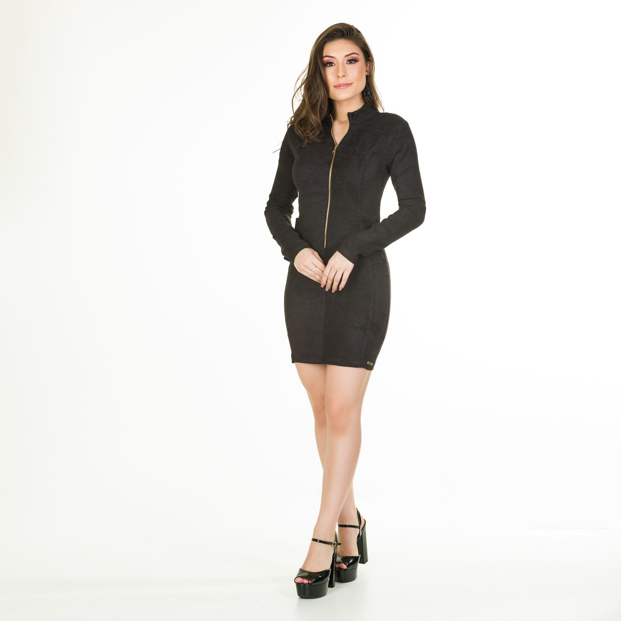 vestido sued ziper