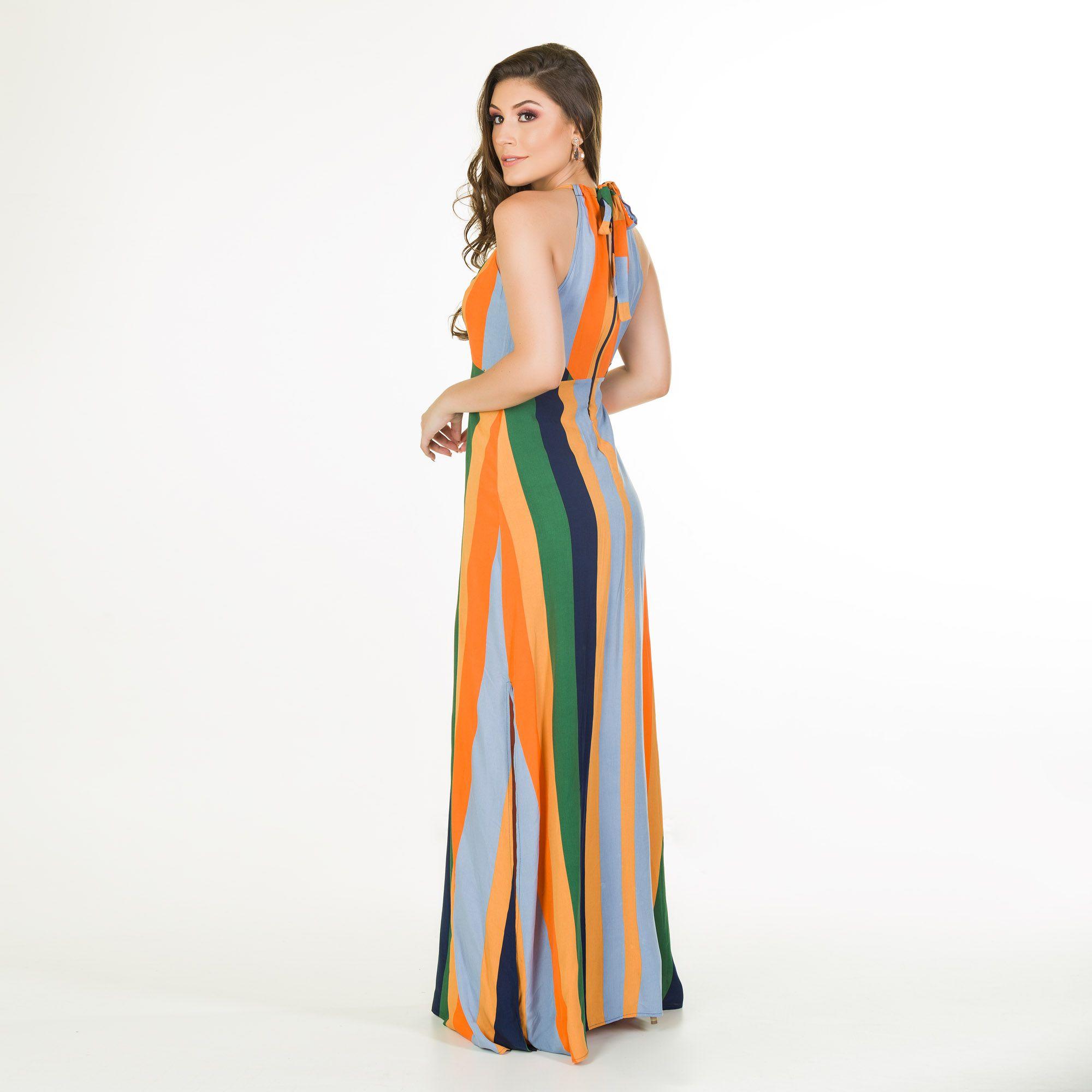 vestido viscose listra
