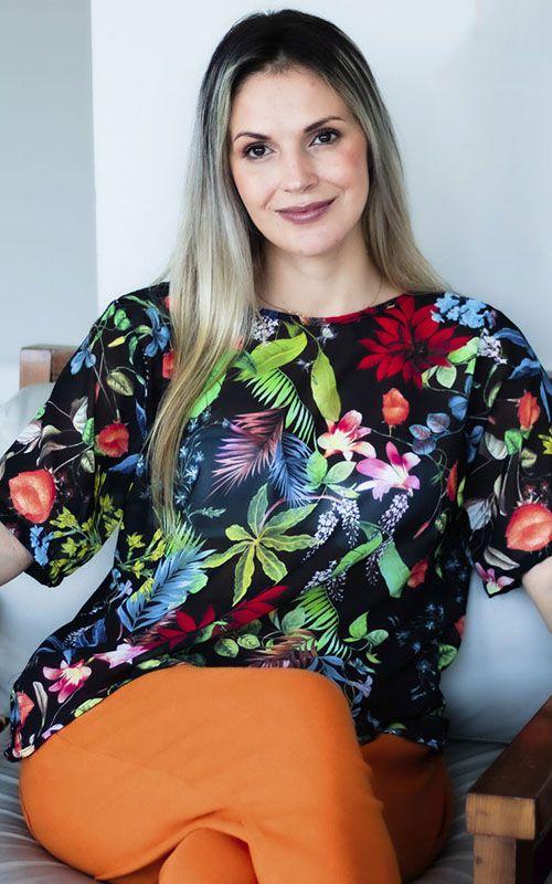 Blusa Básica Mullet de Seda - Estampa Floral - Tecido de Aproveitamento Têxtil