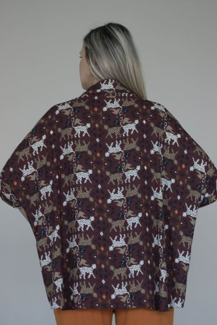 Camisa Mullet  de Viscose Proveniente de Aproveitamento Têxtil - Estampa Animal Print