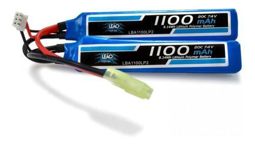 Bateria Lipo 2s 7.4v 1100mah 20c (2 Pack) Airsoft Aeg Mini Tamiya