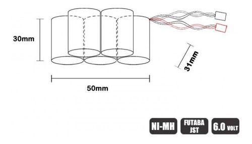 Bateria Nimh Leão 6v 1200mah Jst Futaba Piramide Receptor RX