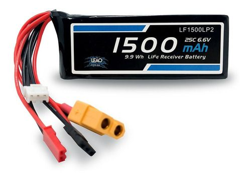 Bateria Life Leão 6.6v 2s 1500mah 25c Futaba Jst Xt60 Receptor
