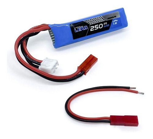 Bateria Lipo Leão 250mah 7.4v 2s 20c Aep Airsoft Cyma Glock Aeg