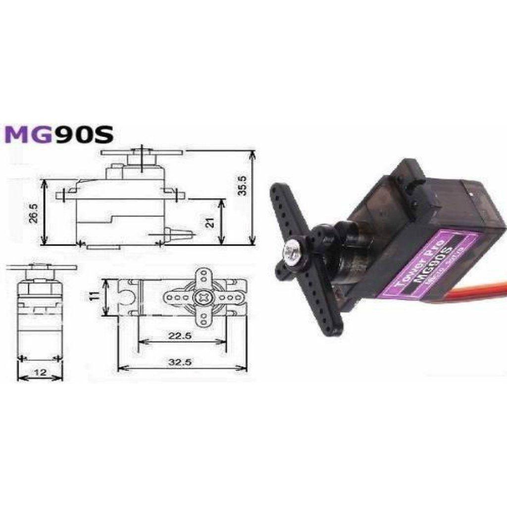 4 - Micro Servo Tower Pro MG90S Metal Gear