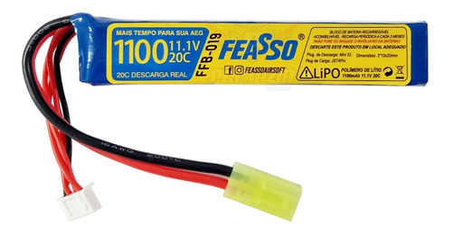 Bateria Lipo 1100mah 3s 11.1v 20c Airsoft Aeg Feasso FFB-019