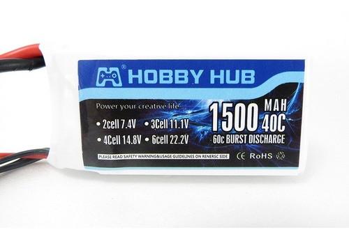 Bateria Lipo Hubby Hub 1500mah 11.1v 3s 40c-60c Xt60