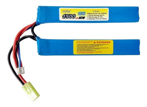Bateria Lipo 1500mah 2s 7.4v 15c Arma Airsoft Feasso FFB-001