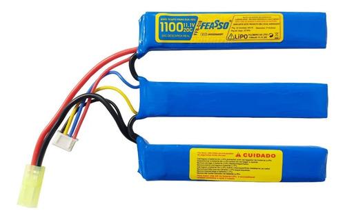 Bateria Lipo Airsoft 1100mah 3s 11.1v 20c Aeg Feasso FFB-018