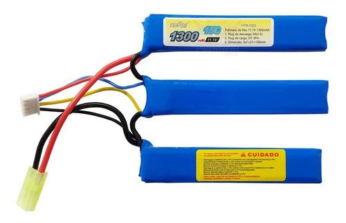 Bateria Lipo Airsoft 1300mah 3s 11.1v 15c Aeg Feasso FFB-022