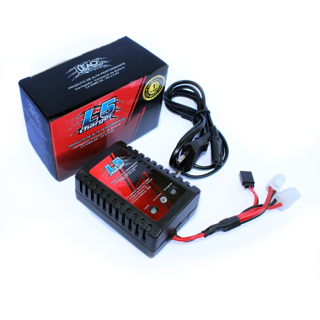 Carregador Compacto de Bateria Leão L5 2A NiMh 6V a 9.6V