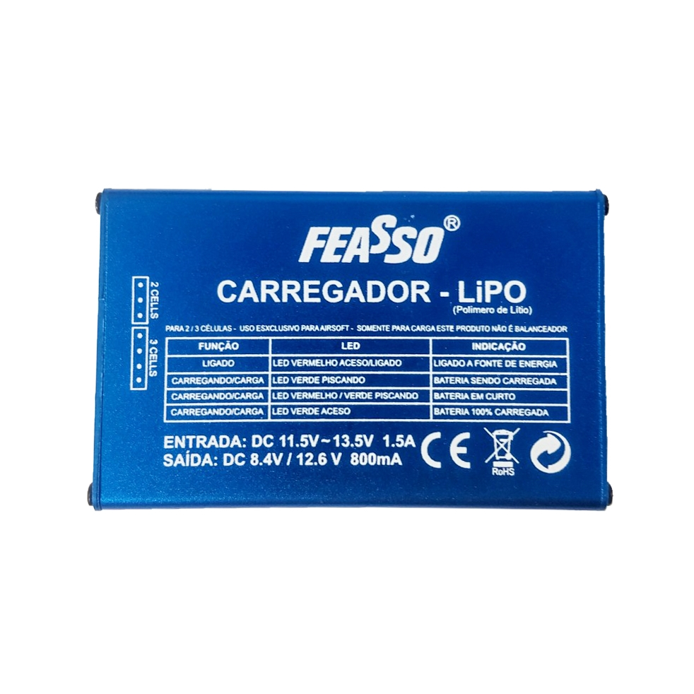 Carregador Feasso Bateria Lipo 2s 7.4v / 3s 11.1v Airsoft FF-B3V1