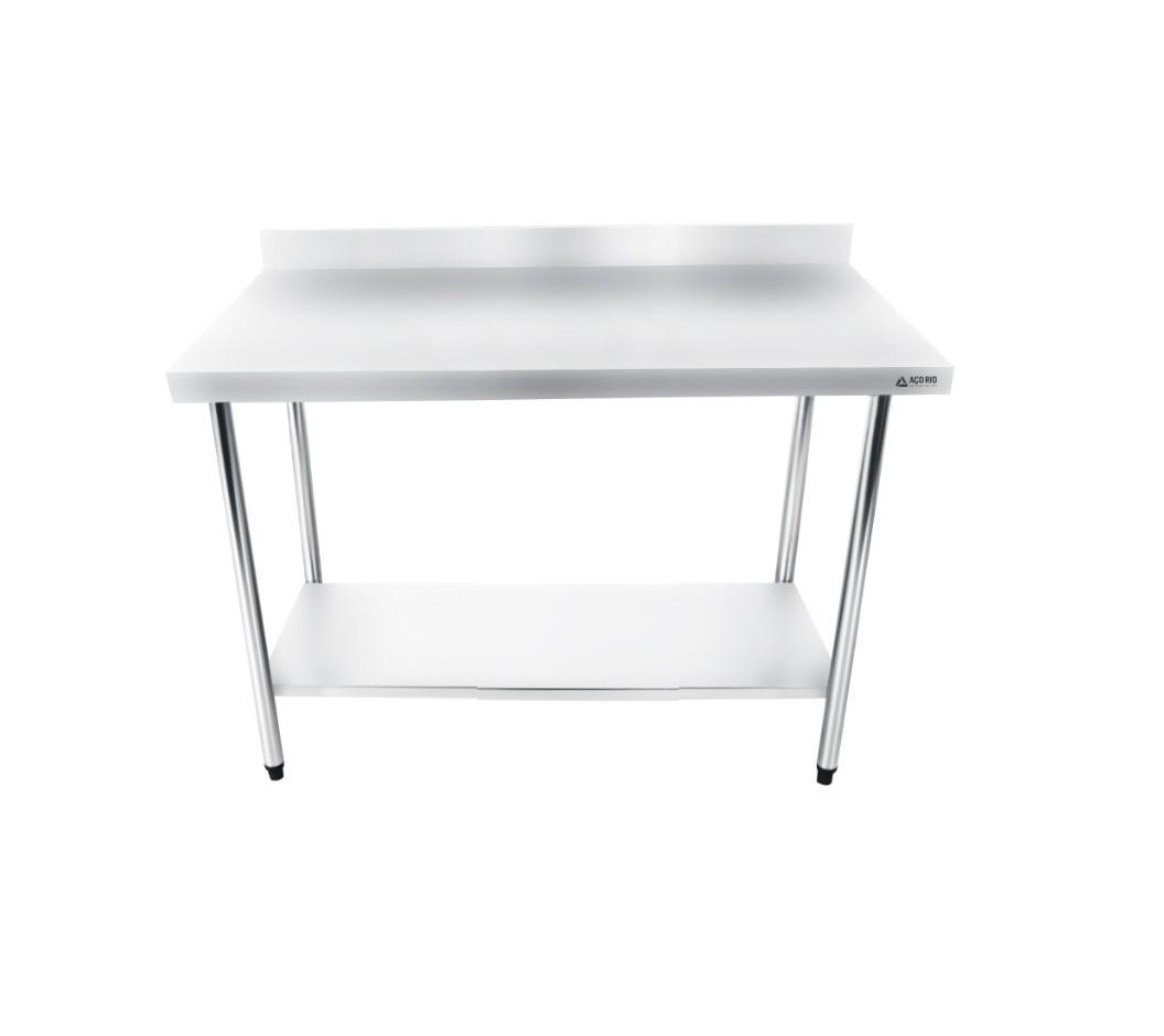 Mesa Bancada Em Aço Inox 120x60x85 com Espelho e Prateleira