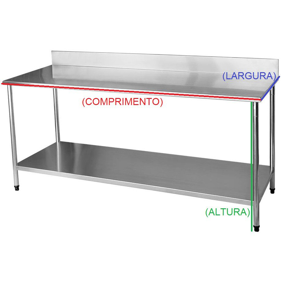Bancada / Mesa Em Aço Inox com Espelho E Prateleira (150x70x85)