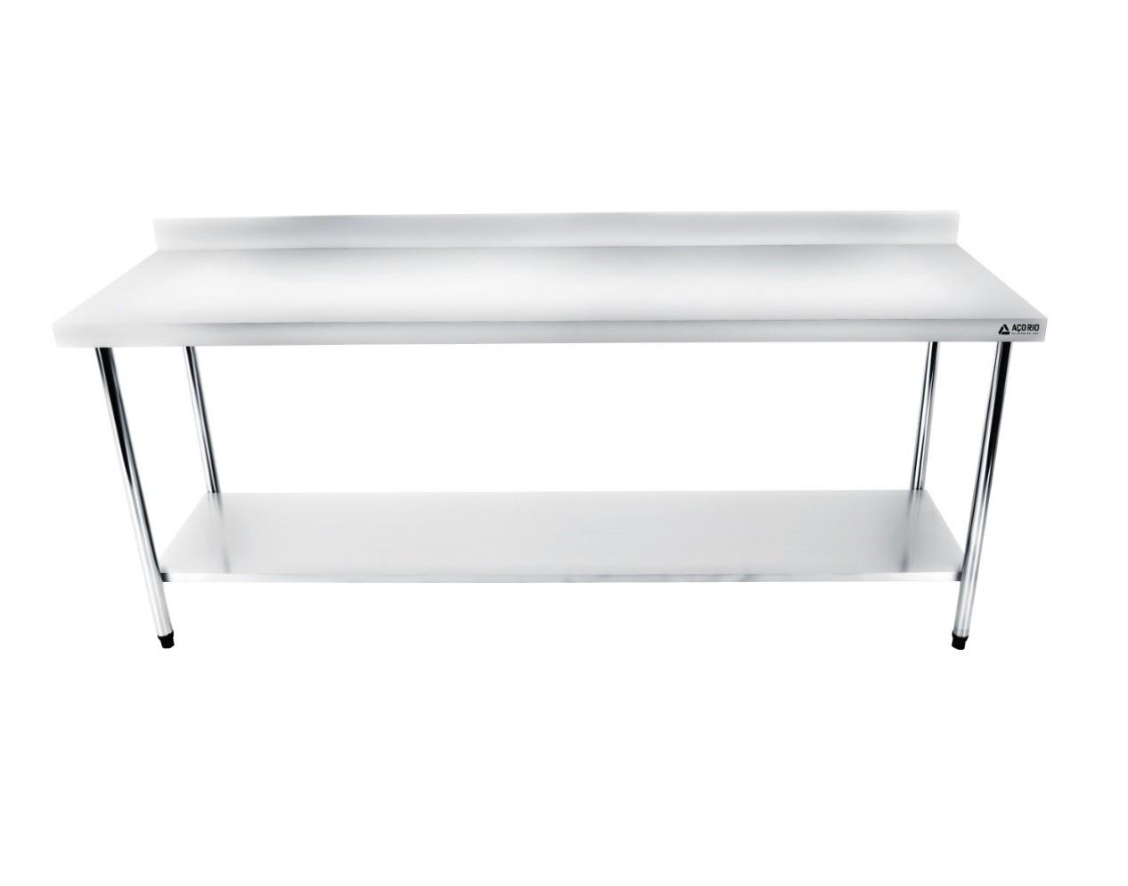 Mesa Bancada Em Aço Inox 170x60x85 com Espelho e Prateleira