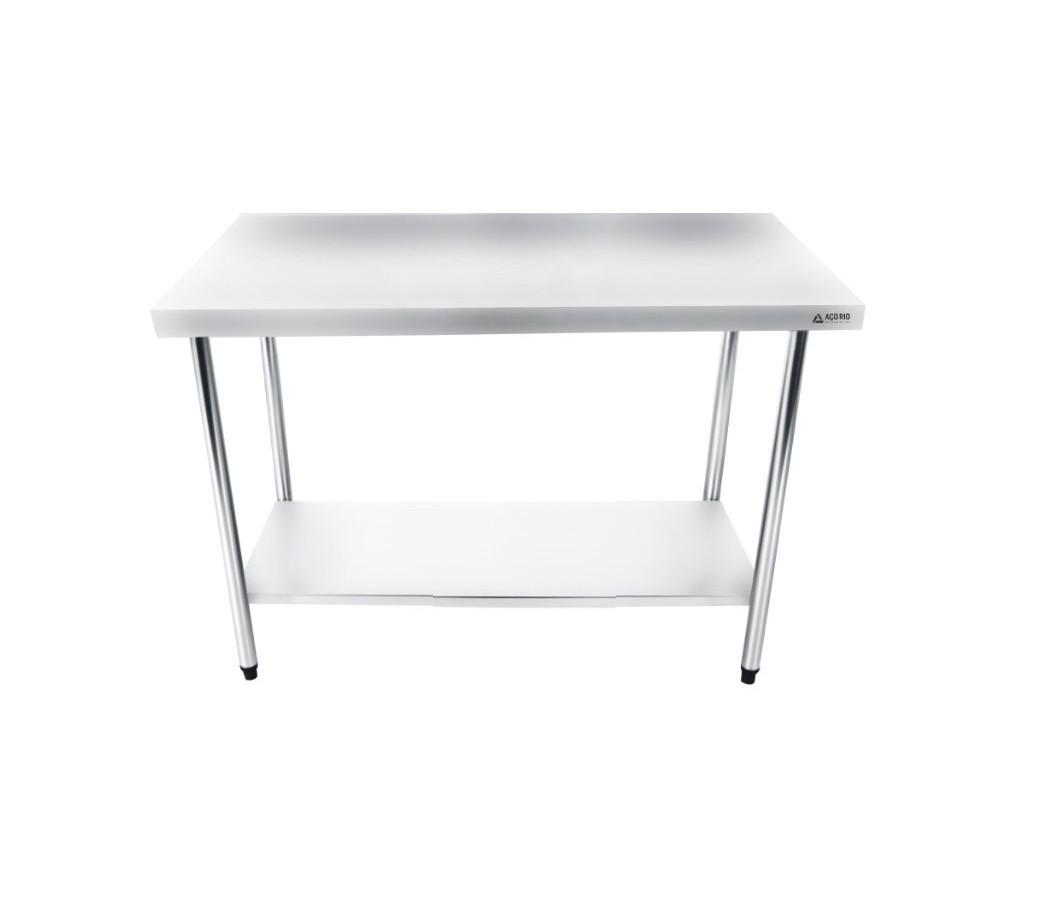 Mesa Bancada Em Aço Inox 120x60x85 com Prateleira