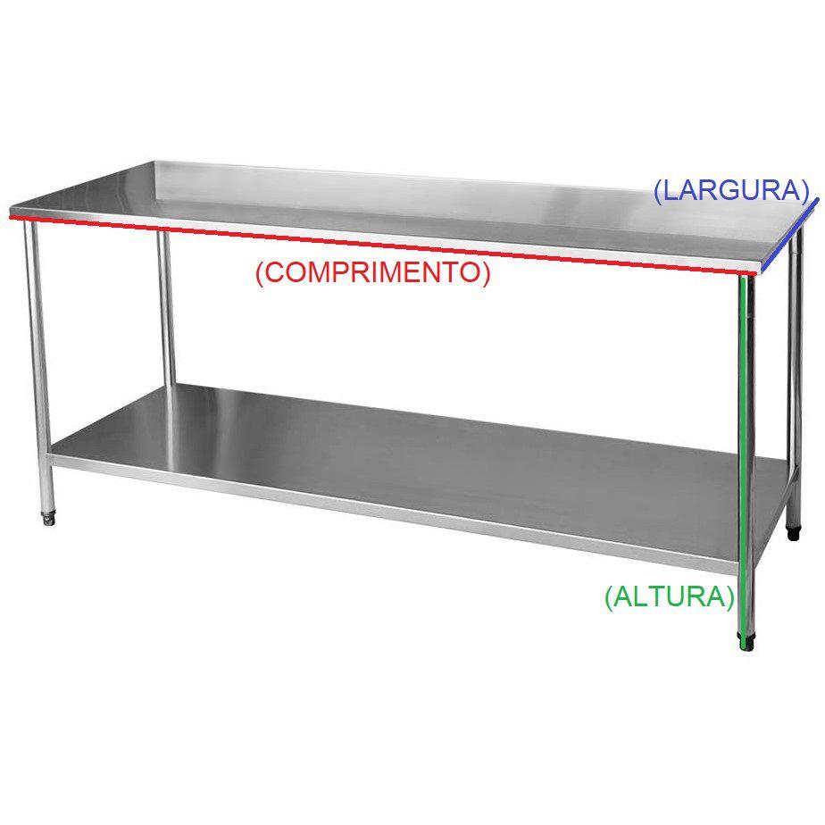 Bancada / Mesa Em Aço Inox com Prateleira (140x60x85)