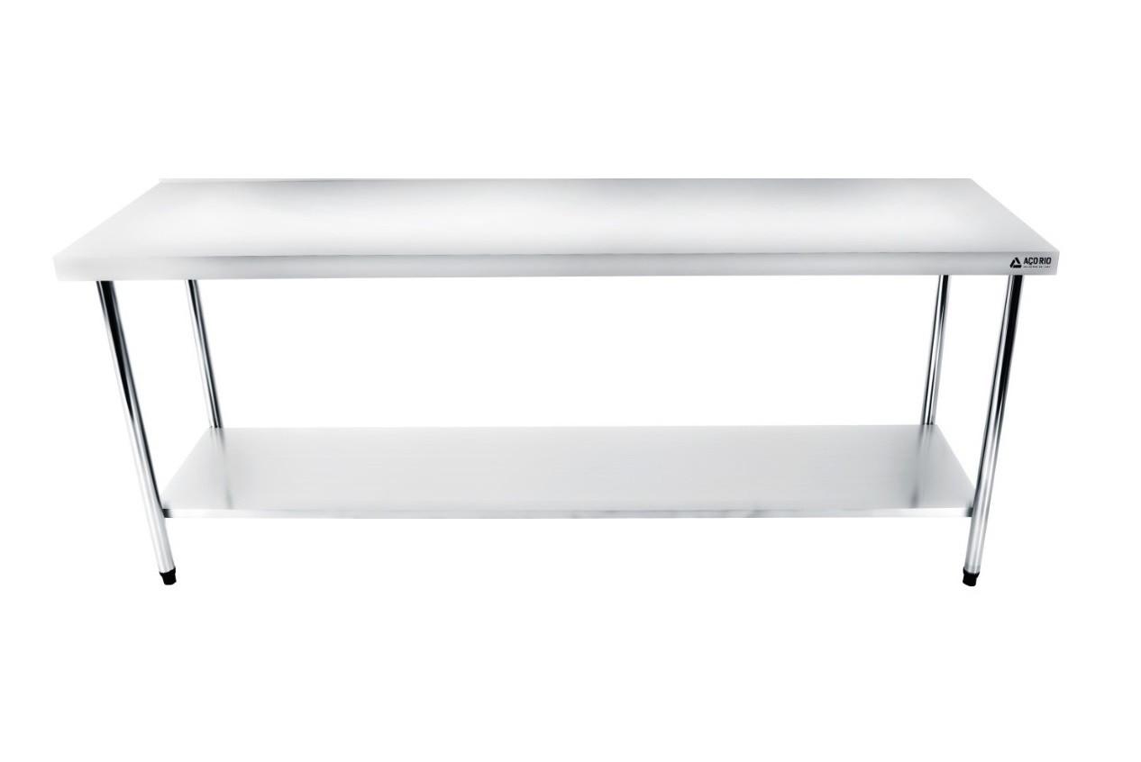 Mesa Bancada Em Aço Inox 180x60x85 com Prateleira