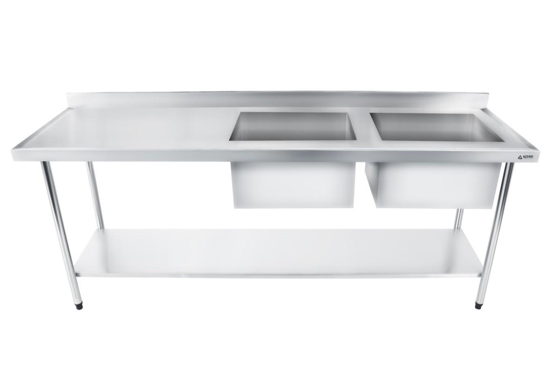Bancada / Mesa Pia Em Aço Inox com Duas Cubas (50x40x25) A Direita E Prateleira (180x70x85)