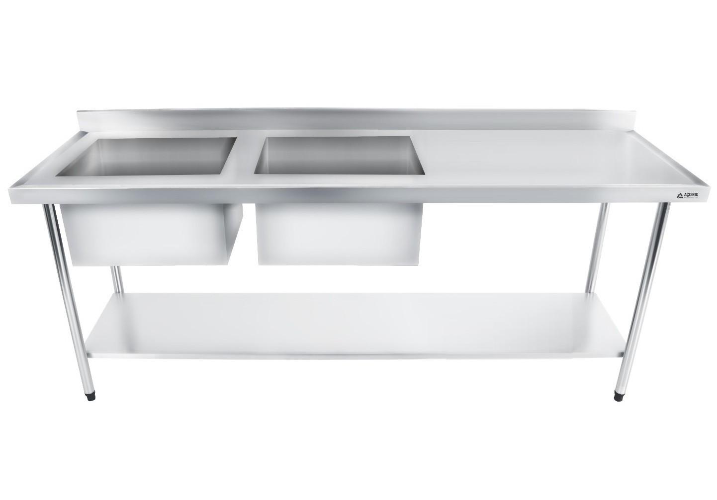 Bancada / Mesa Pia Em Aço Inox com Duas Cubas (50x40x25) A Esquerda E Prateleira (180x60x85)