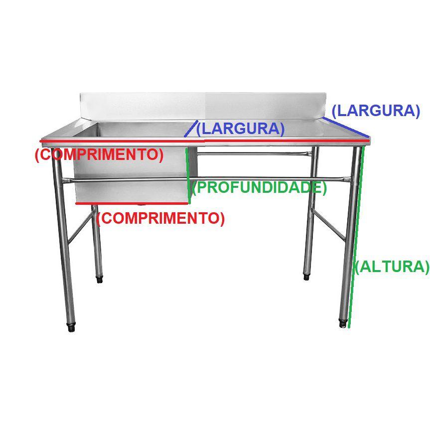 Bancada / Mesa Pia Em Aço Inox com Uma Cuba (50x40x25) A Esquerda (140x60x85)