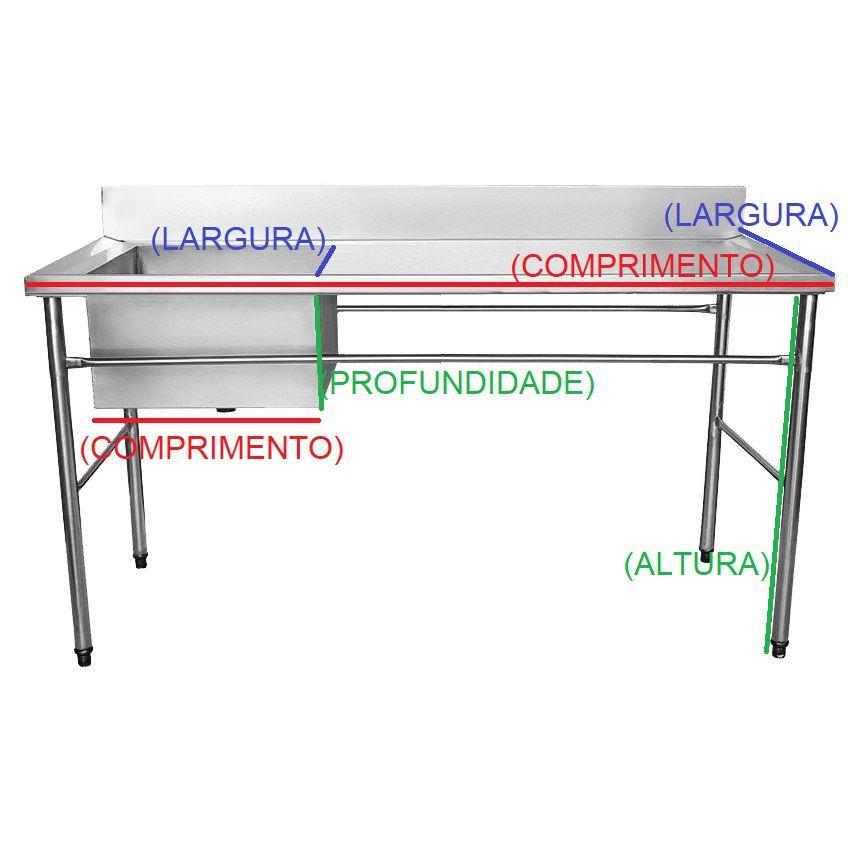 Bancada / Mesa Pia Em Aço Inox com Uma Cuba (50x40x25) A Esquerda (180x70x85)