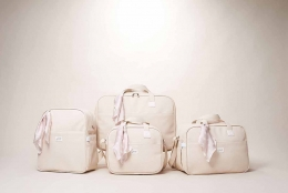 Kit Maternidade Mala, Bolsa, Mochila e Bolsa Térmica Pequena Candy Bege