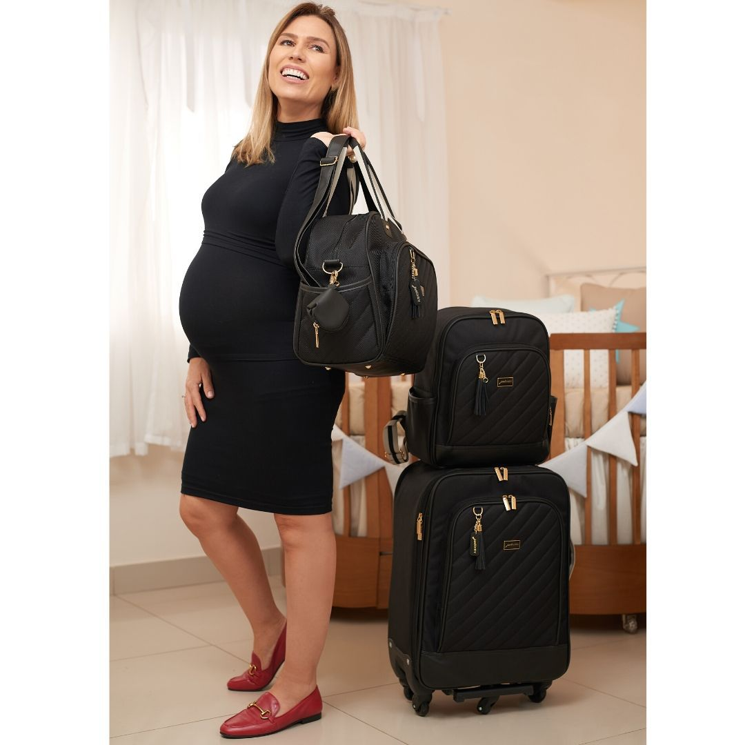 Kit 3 Peças Mala Convencional, Mochila Maternidade E Frasqueira Térmica Berlim Preto Just Baby