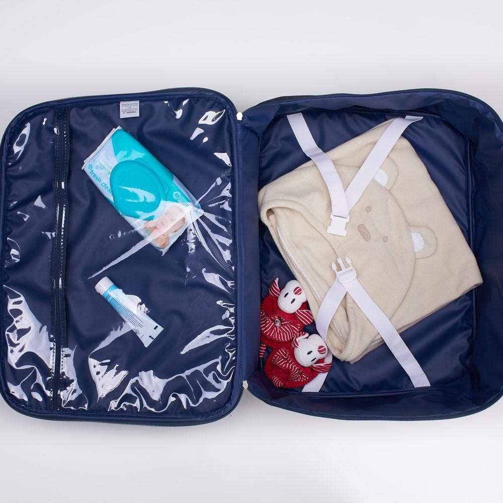 Kit Bolsa, Frasqueira e Mala de Maternidade Jeans Chaveiro Azul Hey Baby