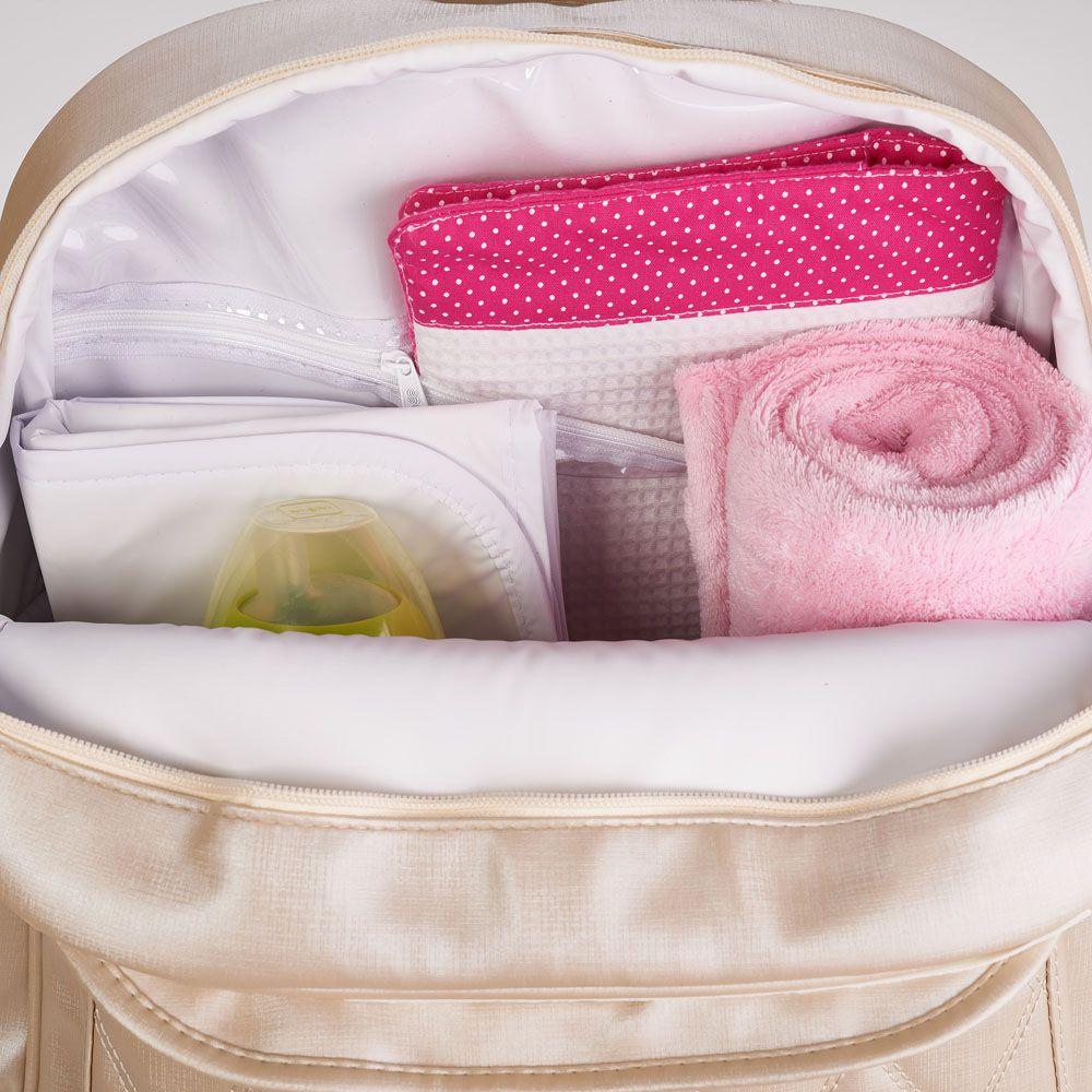 Kit Bolsa, Frasqueira, Mochila E Mala De Maternidade Siena Bege Just Baby
