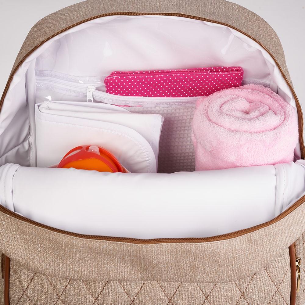 Kit Maternidade Mala Dupla, Bolsa G, Mochila e Bolsa Térmica Pequena Chicago Bege